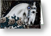 Amusement Ride Greeting Cards - Carousel Horse - 8 Greeting Card by Paul Ward