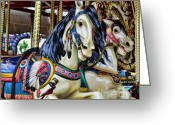 Amusement Ride Greeting Cards - Carousel Horse 2 Greeting Card by Paul Ward