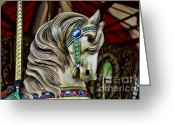 Amusement Ride Greeting Cards - Carousel Horse 3 Greeting Card by Paul Ward