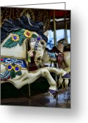 Amusement Ride Greeting Cards - Carousel Horse 5 Greeting Card by Paul Ward