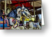 Amusement Ride Greeting Cards - Carousel Horse 6 Greeting Card by Paul Ward