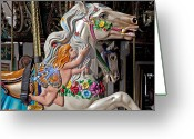 Round Greeting Cards - Carousel horse and angel Greeting Card by Garry Gay