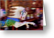 Merry-go-round Greeting Cards - Carousel horse in motion Greeting Card by Garry Gay