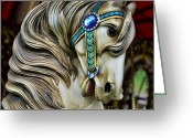 Amusement Ride Greeting Cards - Carousel Horse  Greeting Card by Paul Ward