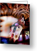 Amusement Park Greeting Cards - Carousel horse portrait Greeting Card by Garry Gay