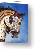 Amusement Park Greeting Cards - Carousel Horse Greeting Card by Tom Mc Nemar