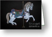 Pole Drawings Greeting Cards - Carousel Horse Greeting Card by Yvonne Johnstone
