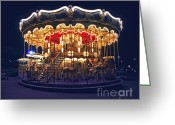 Nighttime Greeting Cards - Carousel in Paris Greeting Card by Elena Elisseeva