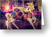 White White Horse Digital Art Greeting Cards - Carousel Spirit Greeting Card by Sonja Quintero