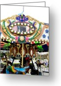 Virginia Pyrography Greeting Cards - Carousel- Springfield Days Festival Greeting Card by Fareeha Khawaja
