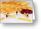 Tomato Digital Art Greeting Cards - Carpenter cutting french fries Greeting Card by Mingqi Ge