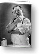 Hand On Chin Greeting Cards - Carpenter Posing In Studio, (b&w) Greeting Card by George Marks