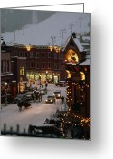 Exterior Buildings Greeting Cards - Carriage And Slded On Snowy Steets Greeting Card by Paul Chesley