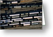 Railroad Tracks Greeting Cards - Carriages of freight trains on a commercial railway Greeting Card by Sami Sarkis