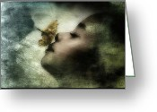 Girl Smelling A Flower Greeting Cards - Carried away by a scent Greeting Card by Gun Legler