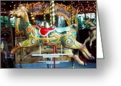 Merry-go-round Greeting Cards - Carrouse horse Paris France Greeting Card by Garry Gay