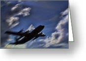 C130 Greeting Cards - Carrying a Heavy Load Greeting Card by Douglas Barnard
