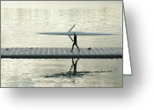 Sculling Greeting Cards - Carrying Single Scull Greeting Card by Lynn Koenig