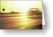 Asphalt Digital Art Greeting Cards - Cars on Freeway 3 - Evening Commute Greeting Card by Steve Ohlsen