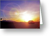 Asphalt Digital Art Greeting Cards - Cars on Freeway 4 - Evening Commute Greeting Card by Steve Ohlsen