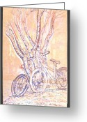 Civil Rights Mixed Media Greeting Cards - Cart Herder Bikes Greeting Card by Radical Reconstruction Fine Art Featuring Nancy Wood