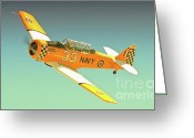 Sports Prints Greeting Cards - Carter Clark and T-6 Texan Race 33 Midnight Rendevous Greeting Card by Gus McCrea