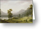 Waters Painting Greeting Cards - Carters Tavern at the Head of Lake George Greeting Card by Francis Guy