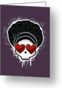 Revival Greeting Cards - Cartoon Skull With Hearts As Eyes Greeting Card by Sherrie Thai