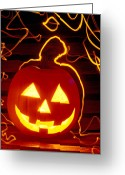 October Greeting Cards - Carved pumpkin smiling Greeting Card by Garry Gay