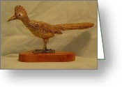 Wildlife Sculpture Greeting Cards - Carved Roadrunner Greeting Card by Russell Ellingsworth