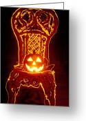 October Greeting Cards - Carved smiling pumpkin on chair Greeting Card by Garry Gay
