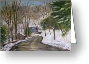 Carversville Greeting Cards - Carversville in Winter Greeting Card by Aurelia Nieves-Callwood