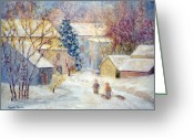 Carversville Greeting Cards - Carversville Snow Greeting Card by Pamela Parsons