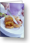 Gallus Gallus Greeting Cards - Carving Roast Chicken Greeting Card by David Munns