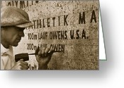 Sprinting Greeting Cards - Carving the name of Jesse Owens into the champions plinth at the 1936 Summer Olympics in Berlin Greeting Card by American School