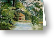 Stewart Greeting Cards - Cascadilla Boathouse Ithaca New York Greeting Card by Ethel Vrana