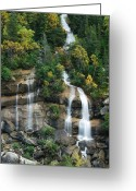 Skagway Greeting Cards - Cascading Skagway Waterfall  Greeting Card by Michael Peychich