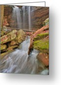 Precipitation Greeting Cards - Cascading Waterfall Greeting Card by Douglas Barnett