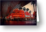 Fremont Street Greeting Cards - Casino Fremont Street Las Vegas Greeting Card by Susanne Van Hulst
