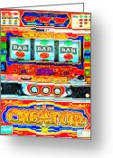 Collectibles Greeting Cards - Casino Slot Machine . One Arm Bandit . Triple Bar Bonus Jack Pot Greeting Card by Wingsdomain Art and Photography