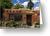 Santa Fe Digital Art Greeting Cards - Casita de Santa Fe Greeting Card by Kurt Van Wagner