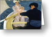 Cassatt Greeting Cards - Cassatt: Boating, 1893-4 Greeting Card by Granger