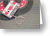 Revival Greeting Cards - Cassette Tape Forming Heart Greeting Card by Isabelle Lafrance Photography