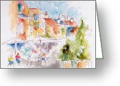 Brasserie Greeting Cards - Cassis Along The Promenade Greeting Card by Pat Katz