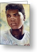 Clay Greeting Cards - Cassius Clay Greeting Card by Rich Marks