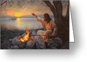 Fire Greeting Cards - Cast Your Nets on the Right Side Greeting Card by Greg Olsen