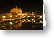 Nights Greeting Cards - Castel San Angelo at night. Rome Greeting Card by Bernard Jaubert