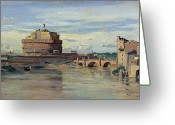 1796 Greeting Cards - Castel Sant Angelo and the River Tiber Greeting Card by Jean Baptiste Camille Corot