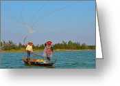 Netting Digital Art Greeting Cards - Casting a Broad Net on Thu Bon River Greeting Card by Ruth Hager