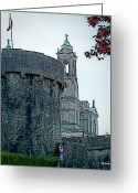 Colorful Buildings Greeting Cards - Castle and Church Athlone Ireland Greeting Card by Teresa Mucha